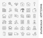real estate line icons set.... | Shutterstock .eps vector #659723446