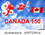 canadian maple leaf flag and... | Shutterstock . vector #659723914