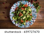 salad with spinach. top view | Shutterstock . vector #659727670