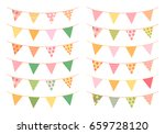 triangle bunting flags in fresh ... | Shutterstock .eps vector #659728120
