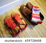woman red sandals and man brown ... | Shutterstock . vector #659728408