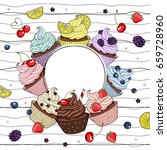 cupcakes line drawn on striped...   Shutterstock .eps vector #659728960