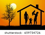 family with children in the... | Shutterstock .eps vector #659734726