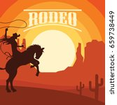 rodeo poster with cowgirl... | Shutterstock .eps vector #659738449