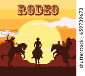rodeo poster with cowboy and... | Shutterstock .eps vector #659739673