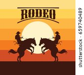 rodeo poster with cowboy... | Shutterstock .eps vector #659740489