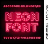 neon tube alphabet font. red... | Shutterstock .eps vector #659740909