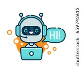 cute smiling robot chat bot say ... | Shutterstock .eps vector #659742613