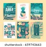 set of summer vacation cards.... | Shutterstock .eps vector #659743663