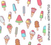 sweet ice cream flat colorful... | Shutterstock .eps vector #659744710