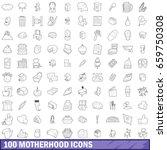 100 motherhood icons set in... | Shutterstock . vector #659750308