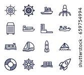 Ship Icons Set. Set Of 16 Ship...