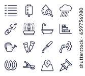 Drop Icons Set. Set Of 16 Drop...