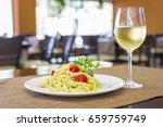 italian shrimp pasta with wine... | Shutterstock . vector #659759749
