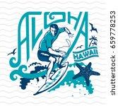 Surfer Riding A Big Wave. Aloha....
