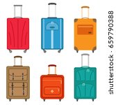 set of suitcases icons in flat... | Shutterstock .eps vector #659790388
