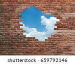 hole in old wall  brick frame | Shutterstock . vector #659792146
