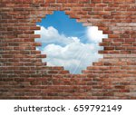 hole in old wall  brick frame | Shutterstock . vector #659792149