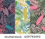 set of three seamless floral... | Shutterstock .eps vector #659793493