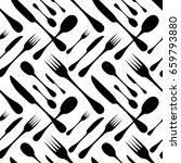 cutlery seamless vector pattern.... | Shutterstock .eps vector #659793880