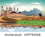 east fortress in the sand dunes.... | Shutterstock .eps vector #659796568