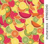 seamless pattern with fruits | Shutterstock .eps vector #659802040