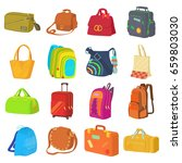bag types icons set. flat... | Shutterstock . vector #659803030