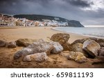 landscape of sesimbra beach  ... | Shutterstock . vector #659811193