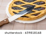 Bilberry Pie In White Dish And...