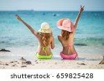 couple friends  asian women ... | Shutterstock . vector #659825428