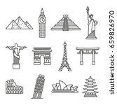 popular travel landmarks  thin... | Shutterstock .eps vector #659826970