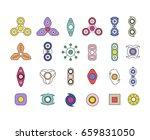 fidget spinners line icon set.... | Shutterstock .eps vector #659831050
