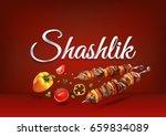 roasted on fire shashlik food.... | Shutterstock .eps vector #659834089