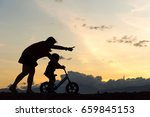biker family silhouette mother... | Shutterstock . vector #659845153