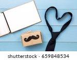 tie  gift box  paper mustache ...   Shutterstock . vector #659848534