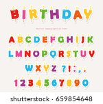 birthday candles colorful font... | Shutterstock .eps vector #659854648