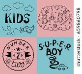 four kids logo handwriting baby ... | Shutterstock .eps vector #659860798