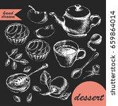 hand drawn chalk sketch of tea... | Shutterstock .eps vector #659864014