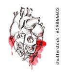 steampunk heart. hand drawn... | Shutterstock . vector #659866603