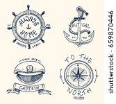 set of engraved vintage  hand... | Shutterstock .eps vector #659870446