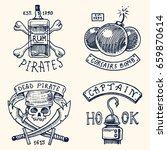 set of engraved  hand drawn ... | Shutterstock .eps vector #659870614