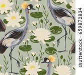 seamless pattern with crane... | Shutterstock .eps vector #659872834