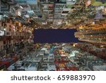 old community night view... | Shutterstock . vector #659883970