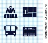 set of 4 arrival filled icons... | Shutterstock .eps vector #659886970