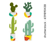 set of four cute colorful... | Shutterstock .eps vector #659890438