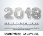 2018 happy new year. silver... | Shutterstock .eps vector #659891356