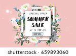 summer sale background with... | Shutterstock .eps vector #659893060