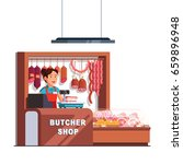 butcher shop owner woman... | Shutterstock .eps vector #659896948