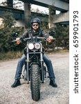 handsome rider guy with beard... | Shutterstock . vector #659901793