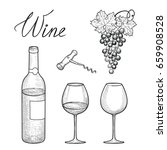 wine drinks set.  wine glass ... | Shutterstock .eps vector #659908528